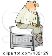 Man Sitting Nervously On A Medical Table In A Doctors Office