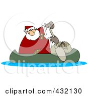 Royalty Free RF Clipart Illustration Of Santa In A Canoe With His Sack by djart