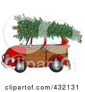 Royalty Free RF Clipart Illustration Of A Red Woody Car Decorated With A Garland And A Christmas Tree On The Roof by Dennis Cox