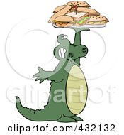 Royalty Free RF Clipart Illustration Of An Alligator Holding Up A Lunch Tray Of Sandwiches by Dennis Cox