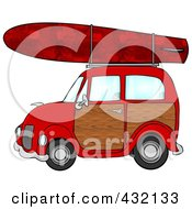 Royalty Free RF Clipart Illustration Of A Red Woody Car With A Red Starry Surfboard On The Roof by Dennis Cox