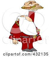 Royalty Free RF Clipart Illustration Of Santa Holding Up A Lunch Tray With Sandwiches by Dennis Cox