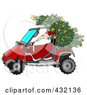 Royalty Free RF Clipart Illustration Of Santa Driving A Mud Bug With A Christmas Tree On The Back
