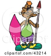 Clipart Illustration Of An Aboriginal Man In Modern Clothes Holding A Shield And Spear by Dennis Holmes Designs