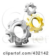 Royalty Free RF Clipart Illustration Of 3d Gold And Silver Gears by Oligo