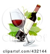 Tilted Glass Of Red Wine With A Wine Bottle And Grape Leaves