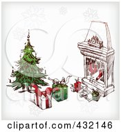 Royalty Free RF Clipart Illustration Of A Sketched Christmas Scene Of Gifts And A Tree Near A Hearth With Stockings And Snowflakes by Eugene