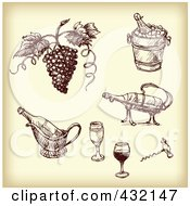 Royalty Free RF Clipart Illustration Of A Digital Collage Of Sketched Grapes And Wine Tools In Sepia Tone by Eugene #COLLC432147-0054