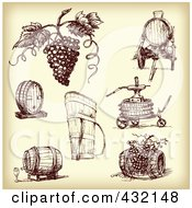 Royalty Free RF Clipart Illustration Of A Digital Collage Of Sketched Grapes And Wine Making Tools In Sepia Tone by Eugene