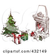 Sketched Christmas Scene Of A Tree With Gifts And Stockings Near A Hearth