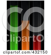 Royalty Free RF Clipart Illustration Of Green Orange And Red Powers Supply Bars On Black