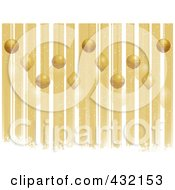 Royalty Free RF Clipart Illustration Of A Golden Christmas Background Of Vertical Stripes White Grungy Snow And Ornaments