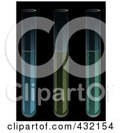 Royalty Free RF Clipart Illustration Of A Trio Of Test Tubes Over Black by elaineitalia