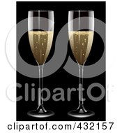 Royalty Free RF Clipart Illustration Of A Two Glasses Of Bubbly Champagne by elaineitalia