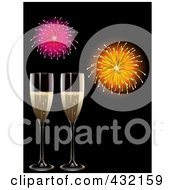 Royalty Free RF Clipart Illustration Of Two Glasses Of Champagne Under New Year Fireworks On Black by elaineitalia