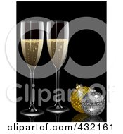 Royalty Free RF Clipart Illustration Of Two 3d Glasses Of Champagne And Glittery Christmas Baubles by elaineitalia