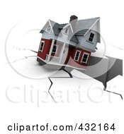 Royalty Free RF Clipart Illustration Of A 3d House Falling Into A Deep Crack