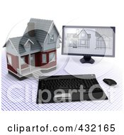 Royalty Free RF Clipart Illustration Of A 3d Computer With Blueprints Designs By A Home On A Grid