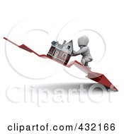 Royalty Free RF Clipart Illustration Of A 3d White Character Trying To Push Up A Home On A Declining Arrow by KJ Pargeter