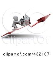 Royalty Free RF Clipart Illustration Of A 3d White Character Pushing His Home Up On An Upswing Arrow by KJ Pargeter