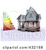 Royalty Free RF Clipart Illustration Of A 3d Energy Rating Chart By A Home On A Grid by KJ Pargeter