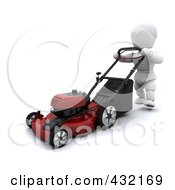 Royalty Free RF Clipart Illustration Of A 3d White Character Mowing The Lawn by KJ Pargeter