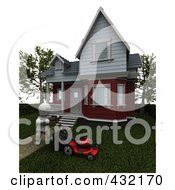 Royalty Free RF Clipart Illustration Of A 3d White Character Mowing The Lawn In Front Of His Home by KJ Pargeter