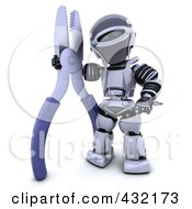 Royalty Free RF Clipart Illustration Of A 3d Robot Standing With A Pair Of Pliers
