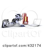 Royalty Free RF Clipart Illustration Of A 3d Robot Using A Laptop To Do Christmas Shopping On The Floor by KJ Pargeter
