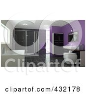 3d Bathroom Interior With A Large Soaking Tub Shower Cabinets Sink Tile Floors And Purple Walls