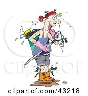 Clipart Illustration Of A Wet Man With Fishing Gear by Dennis Holmes Designs