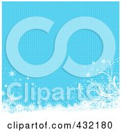 Royalty Free RF Clipart Illustration Of A Blue Background Of Halftone Dots With White Floral Grunge And Snowflakes