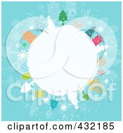 Royalty Free RF Clipart Illustration Of A White Winter Globe Circled In Snowmen Trees Angels And Gifts On Blue