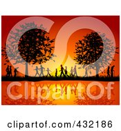 Royalty Free RF Clipart Illustration Of Silhouetted People Of All Ages Walking On The Waterfront In The Country Side Against An Orange Sunset by KJ Pargeter