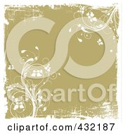 Royalty Free RF Clipart Illustration Of A Tan Floral Grunge Background With White Borders