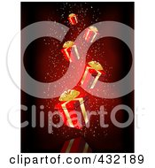 Royalty Free RF Clipart Illustration Of A Red Christmas Background Of Falling Red And Gold Gift Boxes