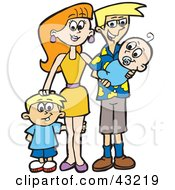 Clipart Illustration Of A Happy Family With A Son And A Newborn Baby by Dennis Holmes Designs