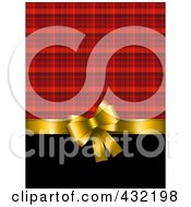 Royalty Free RF Clipart Illustration Of A Gold Bow Over Black And Red Plaid Wrapping Paper