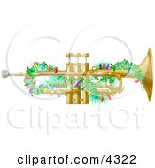 Poster, Art Print Of Brass Trumpet Instrument Decorated With Christmas Lights