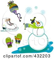 Royalty Free RF Clipart Illustration Of A Digital Collage Of Ice Skates A Hat Mittens Snowflakes And A Snowman