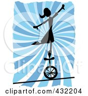 Royalty Free RF Clipart Illustration Of A Silhouetted Woman Balancing On A Unicycle Over A Tightrope Over Blue Swirls