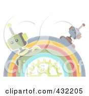 Royalty Free RF Clipart Illustration Of A Pastel Sketched Half Circle Of Robots Around A Gear