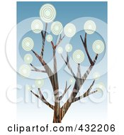 Royalty Free RF Clipart Illustration Of A Tree With Circle Foliage Over Gradient Blue Sky by mheld