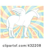 Royalty Free RF Clipart Illustration Of A White Winged Unicorn Over Pastel Swirls