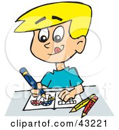 Clipart Illustration Of A Little Boy Coloring Mushrooms