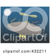 Royalty Free RF Clipart Illustration Of An Airship In The Night Sky
