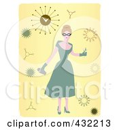Royalty Free RF Clipart Illustration Of A 50s Party Woman With Bursts On Yellow With White Borders