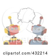 Royalty Free RF Clipart Illustration Of A Faded Robots Sharing An Idea by mheld