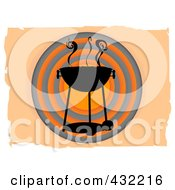 Royalty Free RF Clipart Illustration Of A Smokey Bbq Over Orange And Black Circles On Orange by mheld