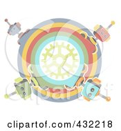 Royalty Free RF Clipart Illustration Of A Pastel Circle Of Robots Around A Gear by mheld